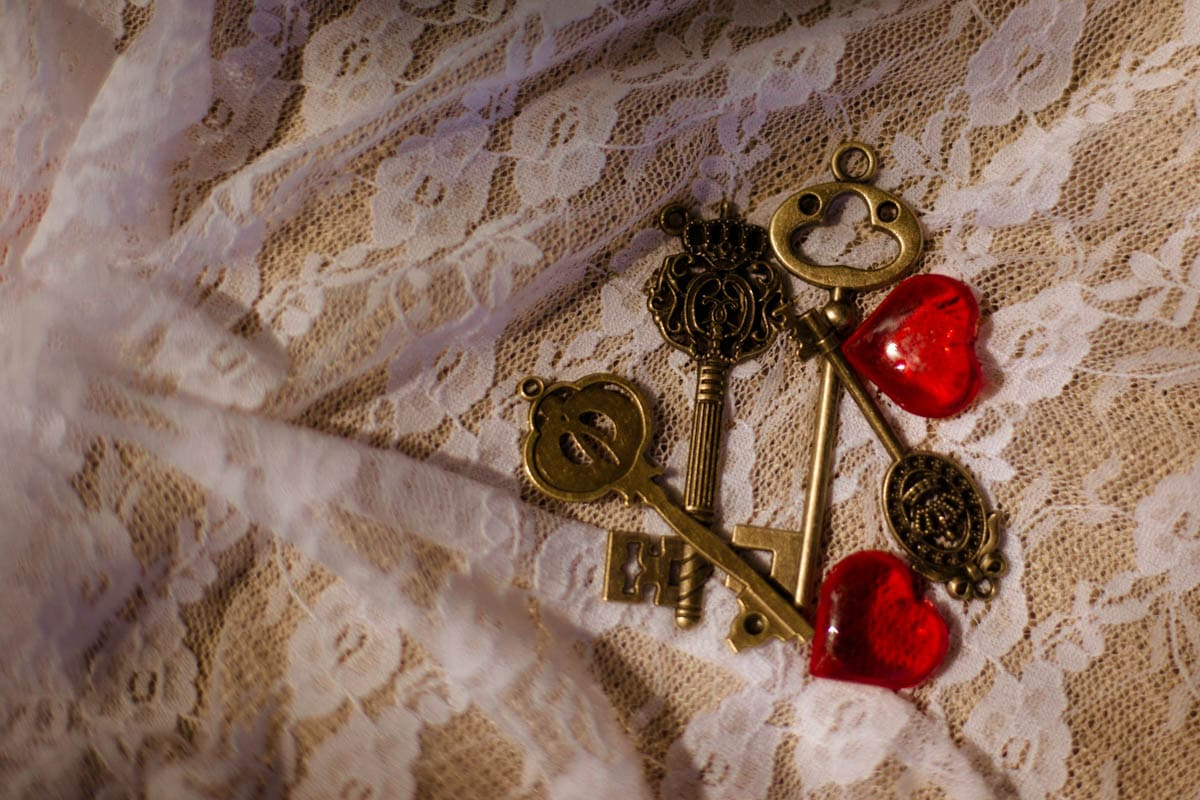 steampunk keys on lace background