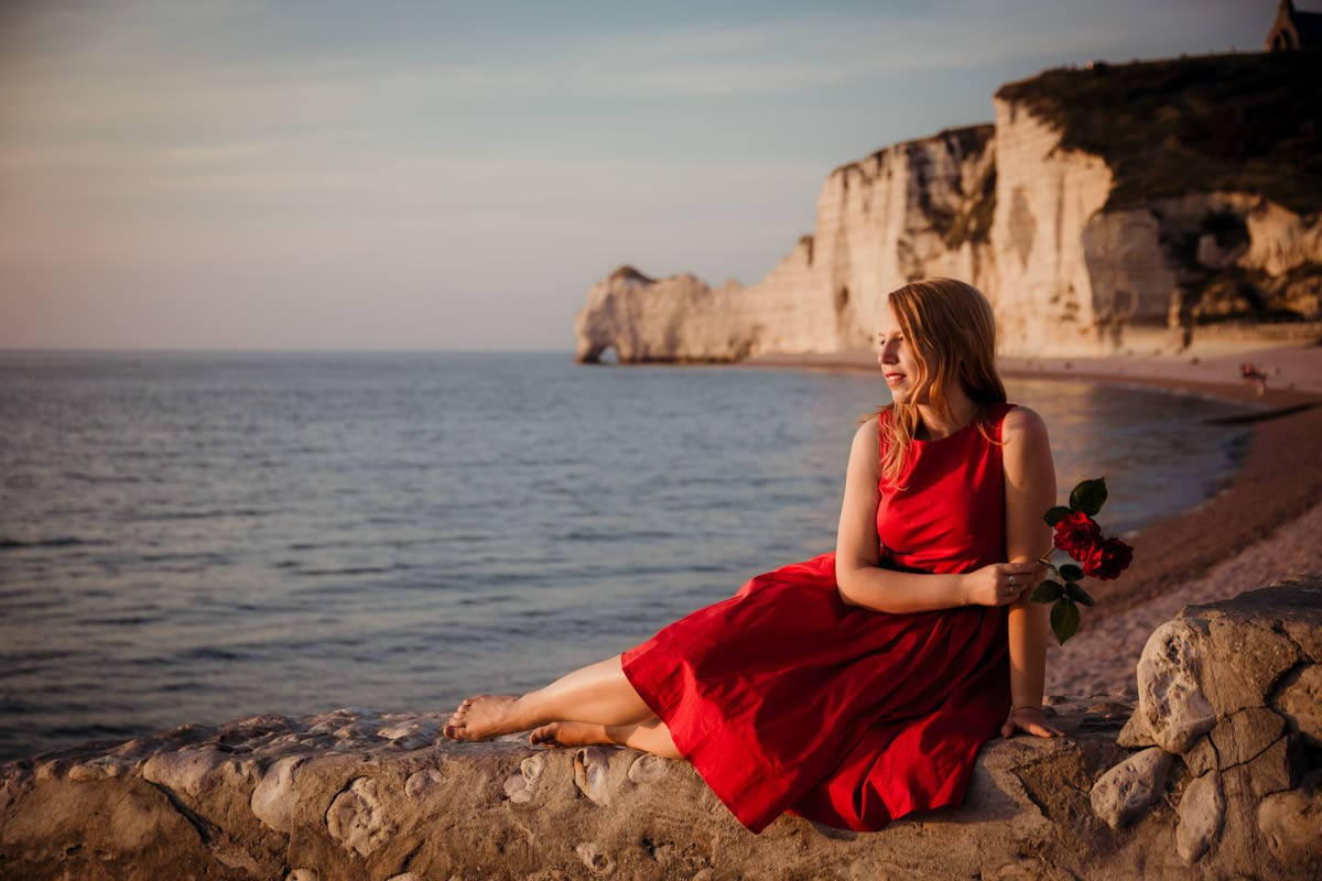Anniversary photoshoot in France Etretat