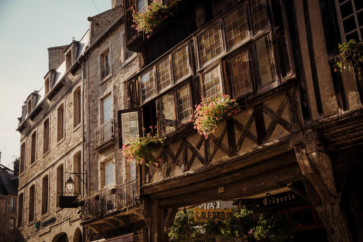 Dinan France golden hour sunset light