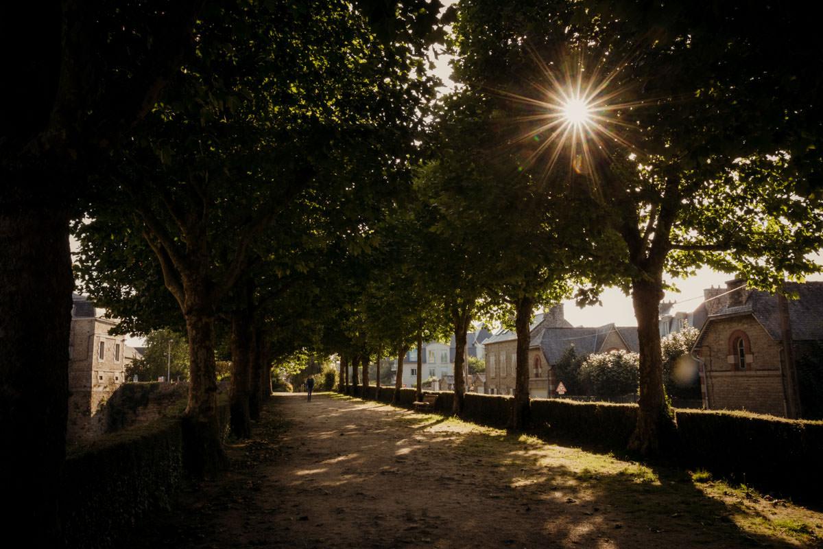 Dinan France alleyway setting sun