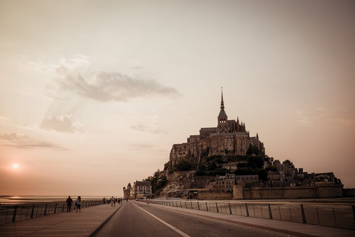 Mont Saint Michel at sunset France Normandy