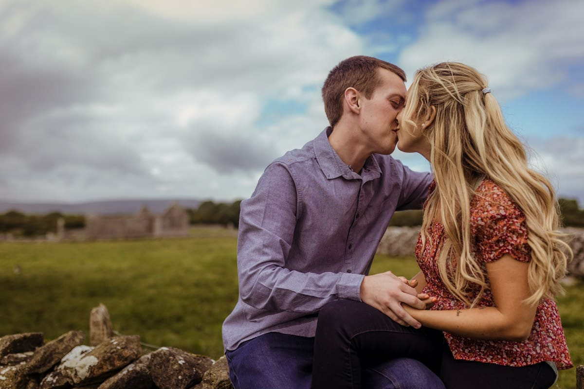 engagement photo west of ireland couple kissing
