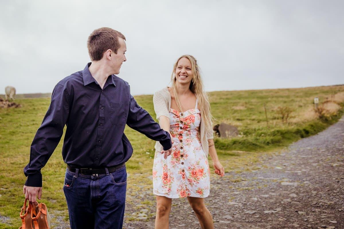 couple having fun pre wedding photo shoot