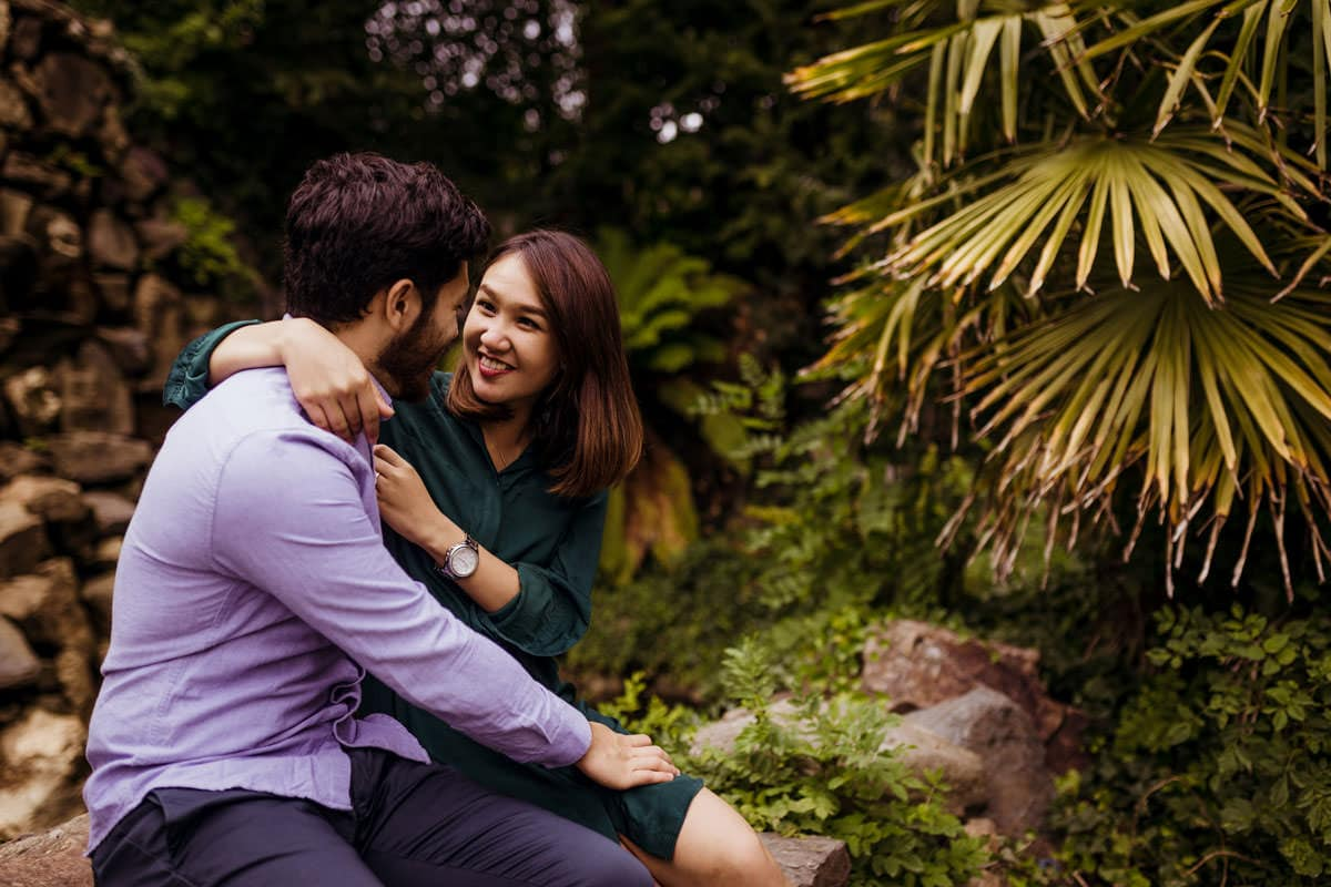 couple during engagement shoot at iveagh gardens dublin