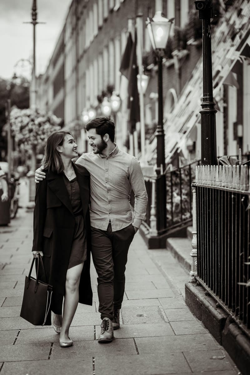couple walking in dublin streets romantic engagement photos