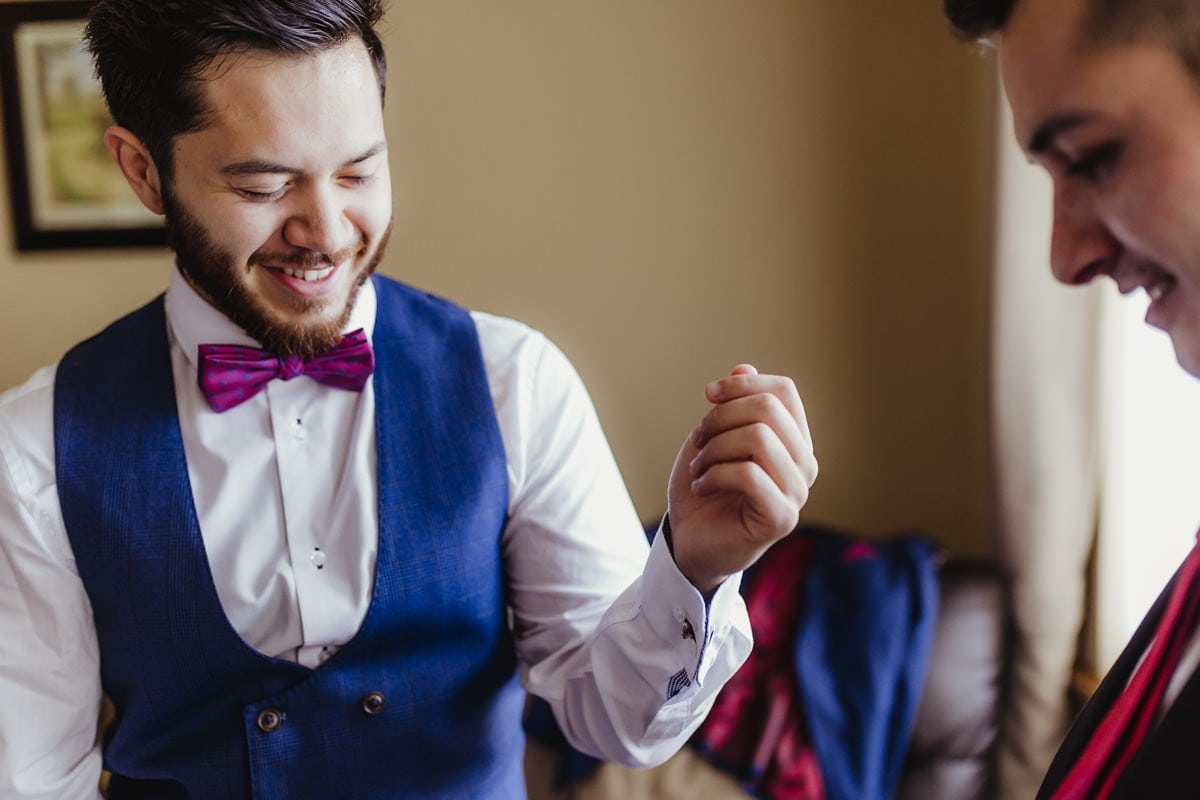 Details of groom preparations, wedding cufflinks. Documentary wedding photographer in Ireland