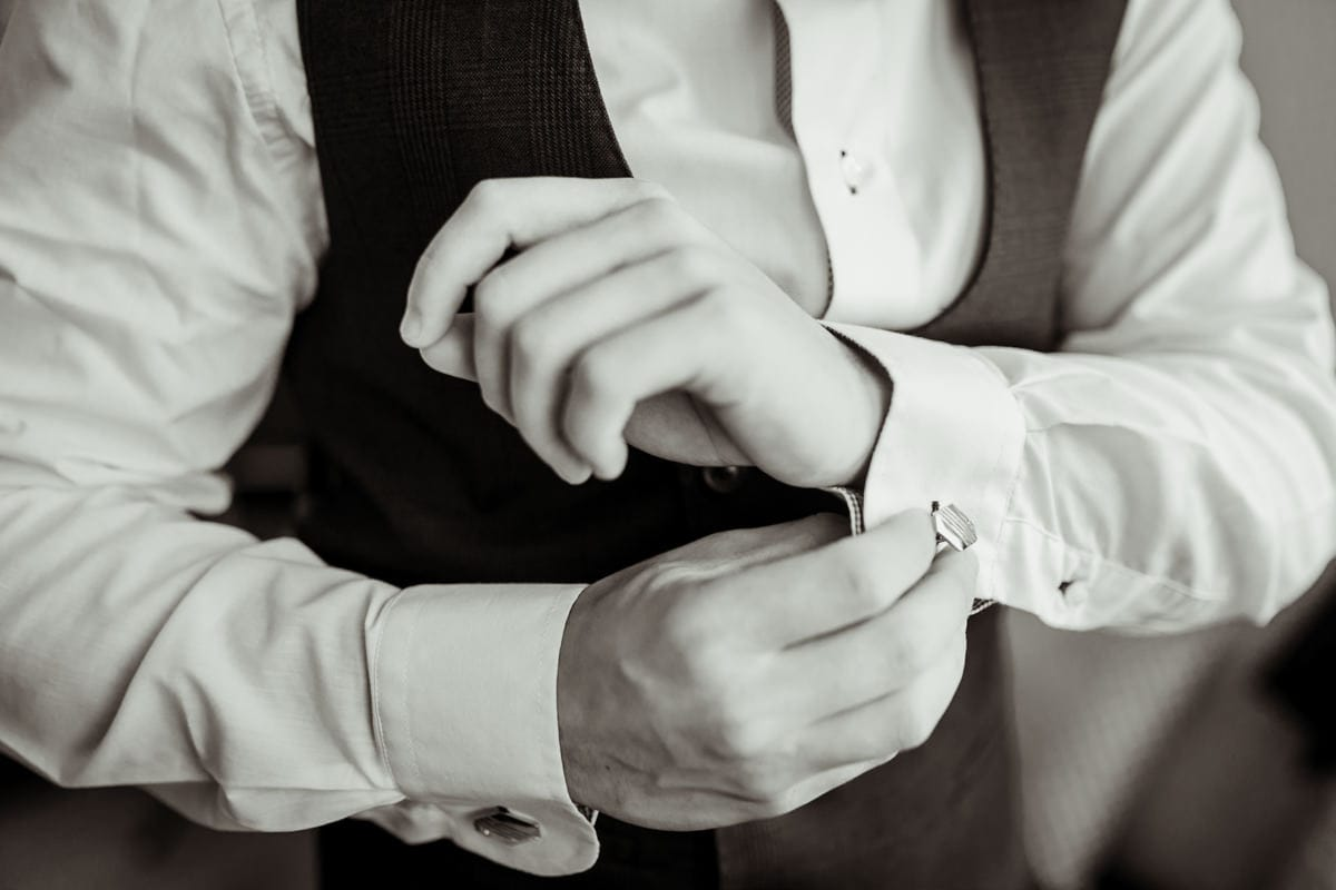 Details of groom preparations, wedding cufflinks