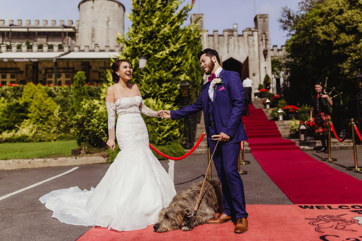 Cabra Castle wedding entrance, red carpet wedding entrance