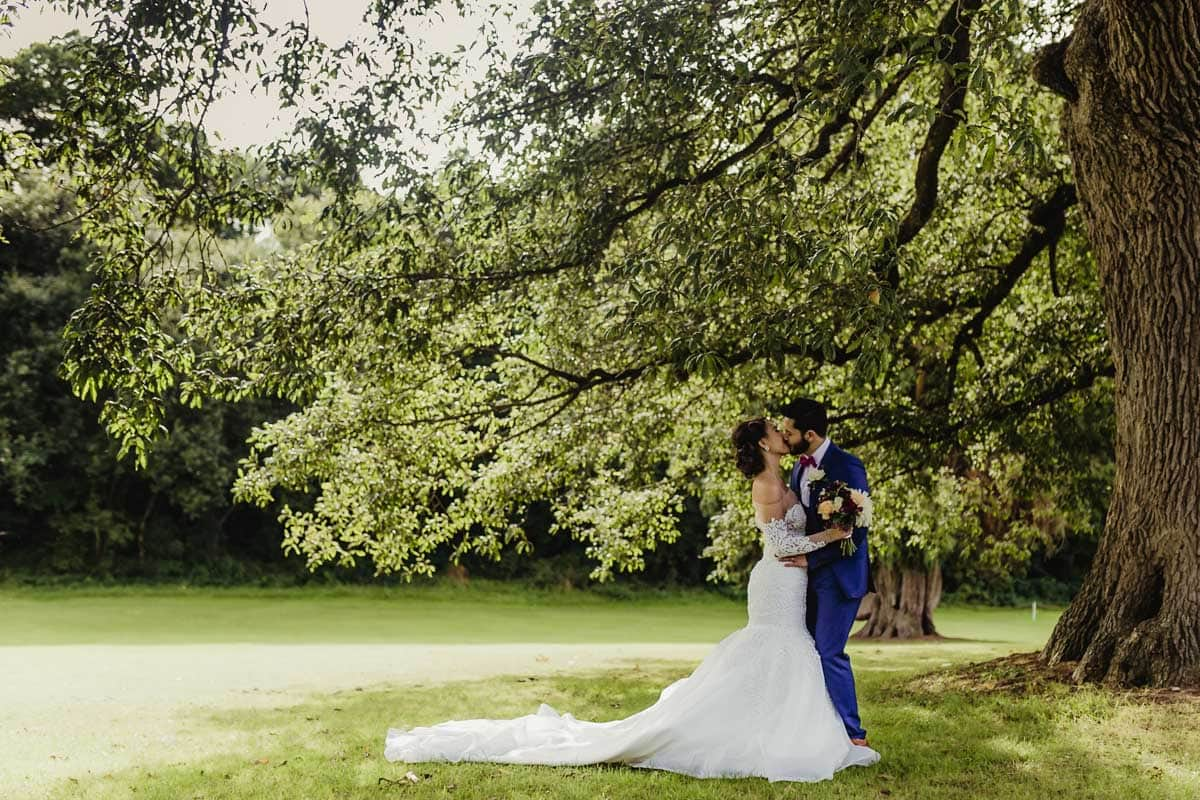 Bride and groom kissing under the tree in Cabra Castle