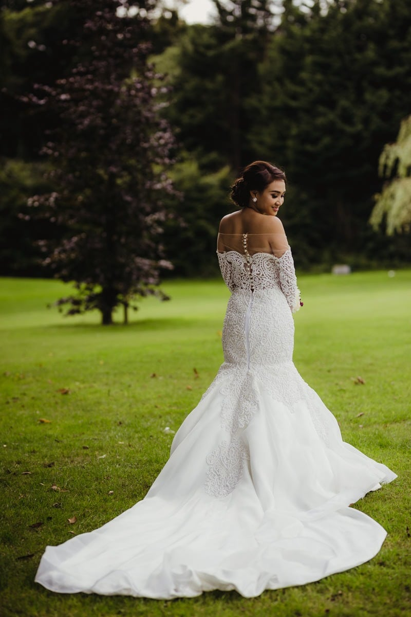 Cabra Castle wedding photographer, Irish castle wedding bride in a mermaid dress