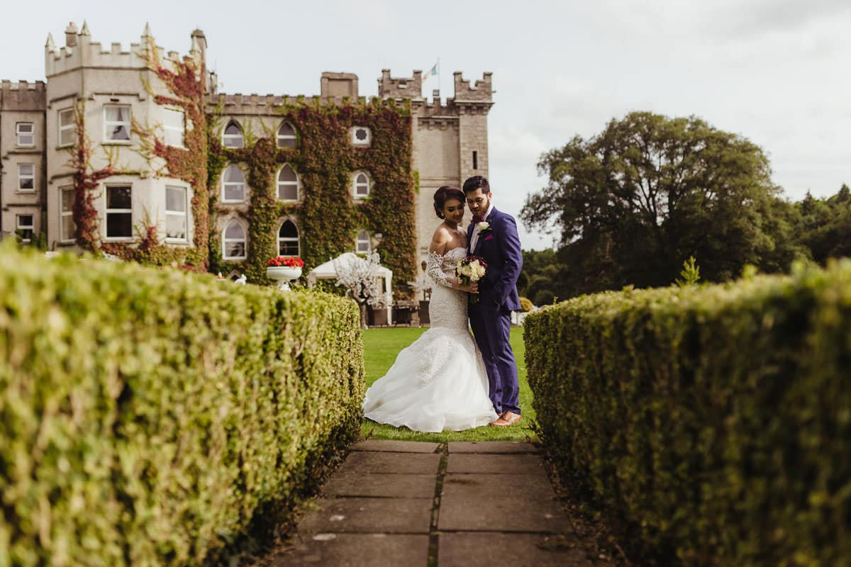 Bride and groom in Cabra Castle. Wedding photographer in Ireland