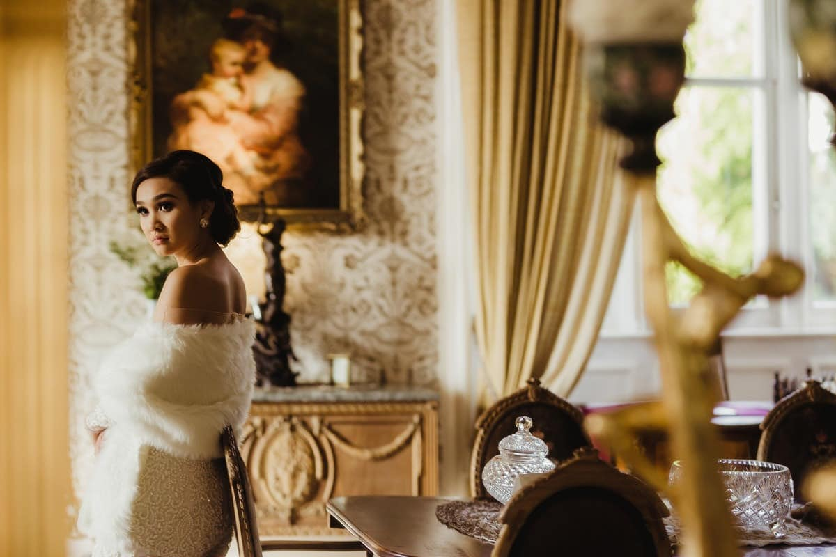 Bridal portrait at Cabra Castle, royal wedding look
