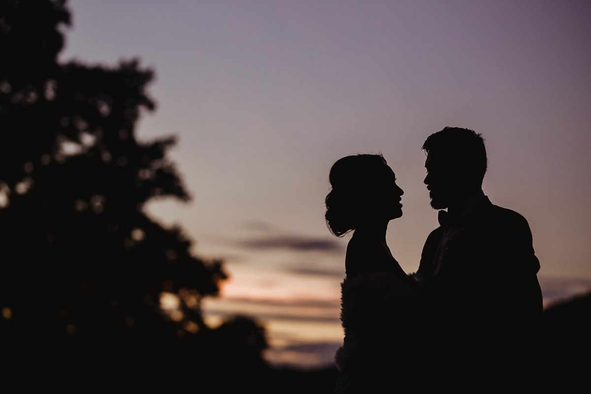 Cabra Castle Wedding evening silhouette, wedding photographer in Ireland