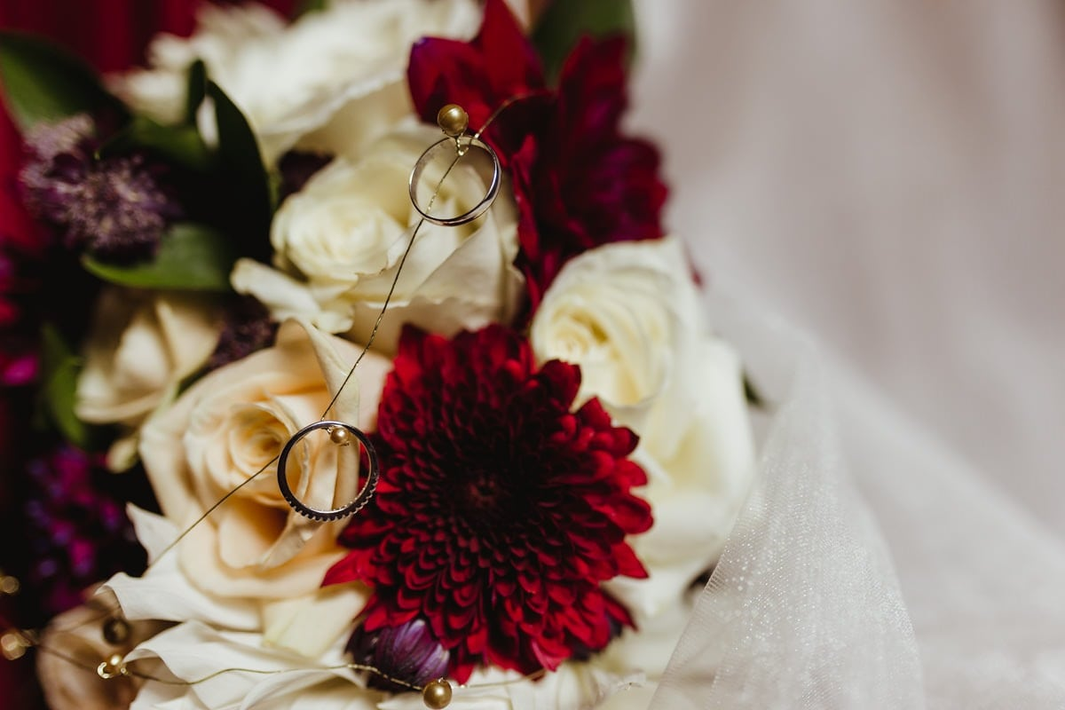 Wedding flowers and wedding bands, wedding details
