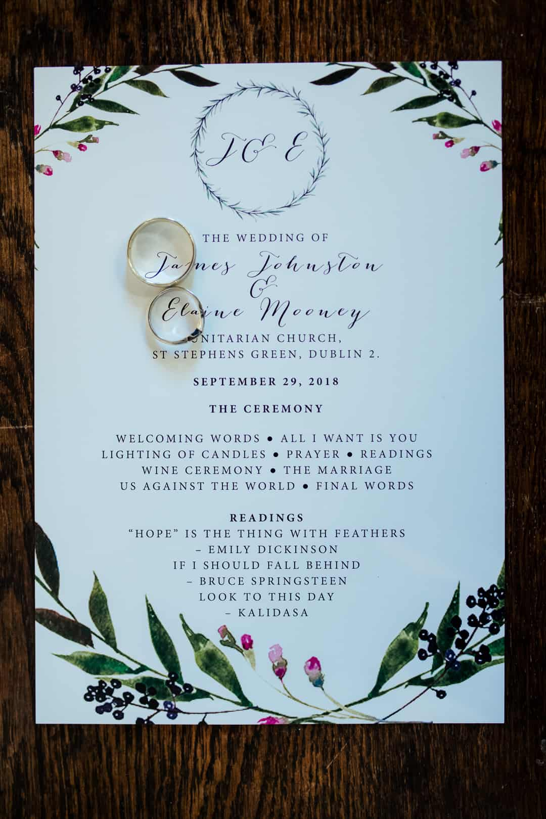 hand painted botanical wedding invitation suite