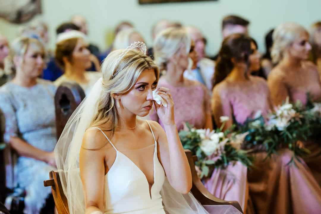 bride crying during her wedding ceremony at unitarian church dublin