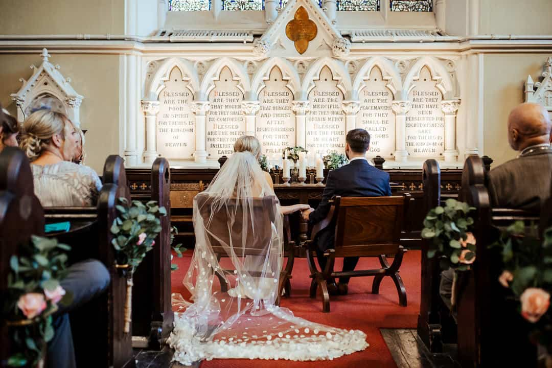bride and groom at their wedding at unitarian church dublin