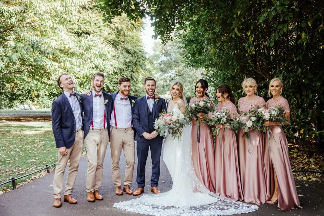 bride groom and bridal party at st stephen's green dublin