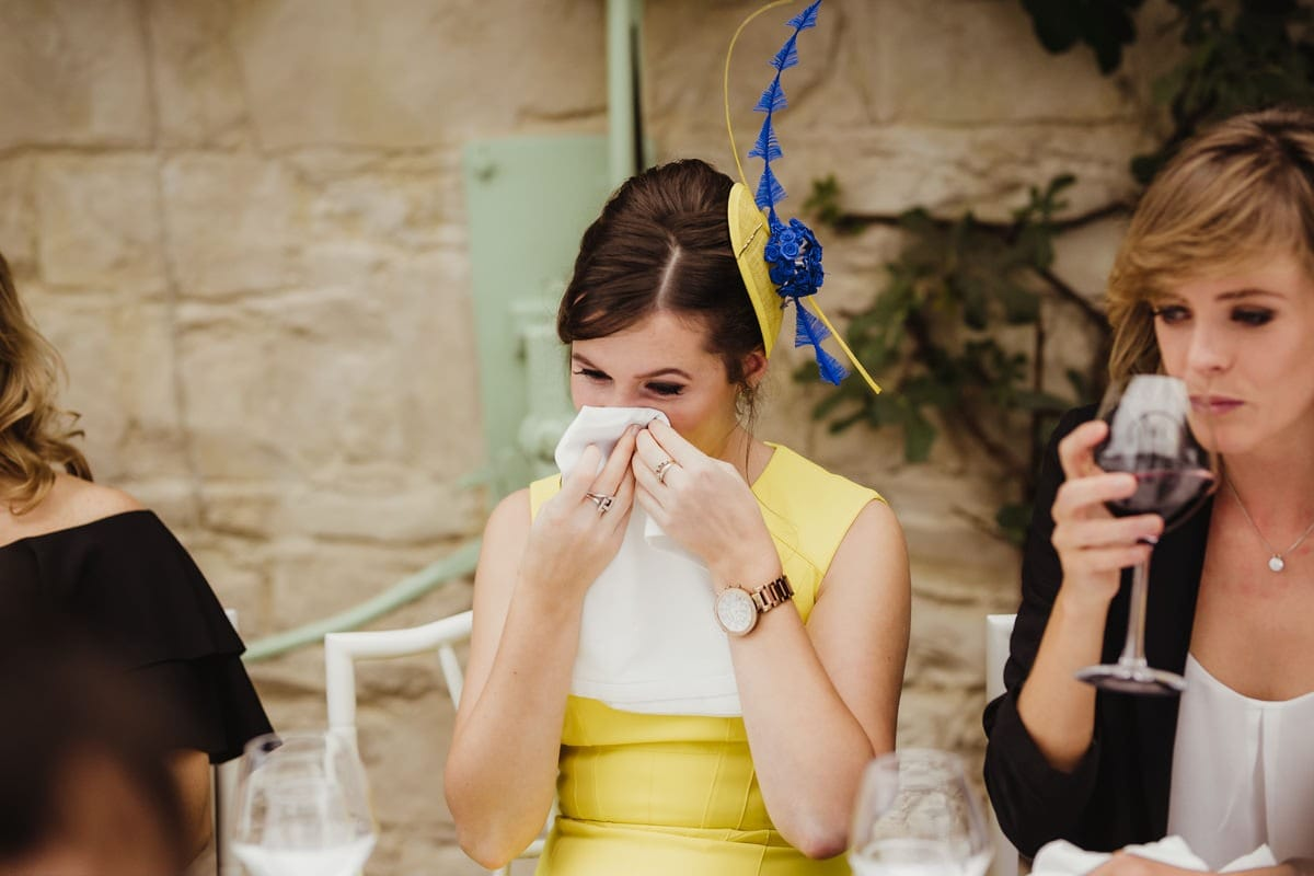 bridesmaid crying during wedding speeches candid wedding photographer dublin
