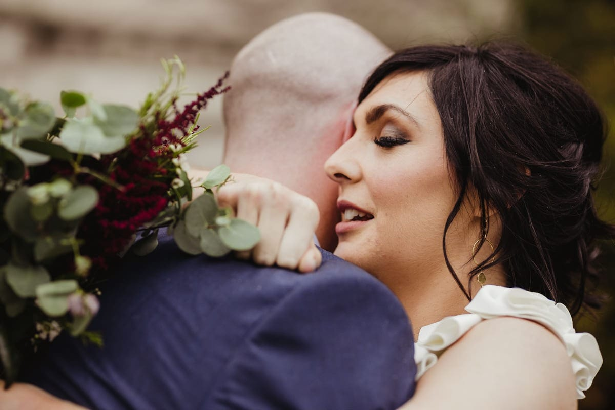 romantic photo of a couple on their wedding day