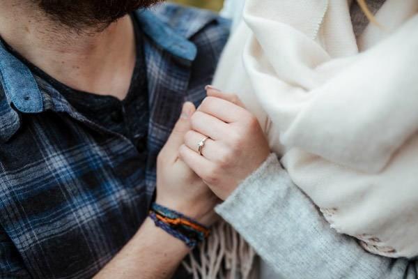 couple holding hands diamond engagement ring posing ideas