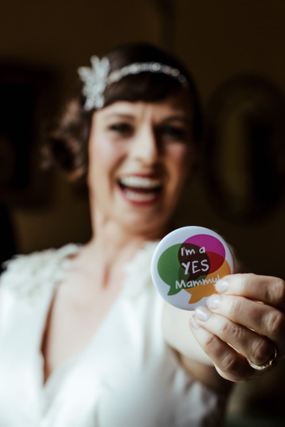 abortion referendum ireland bride with a yes pin