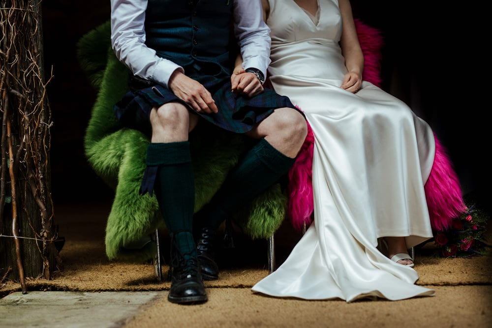 groom wearing a kilt vintage style bridal dress