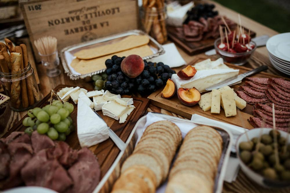 cheese and meat platter wedding reception at martinstown house