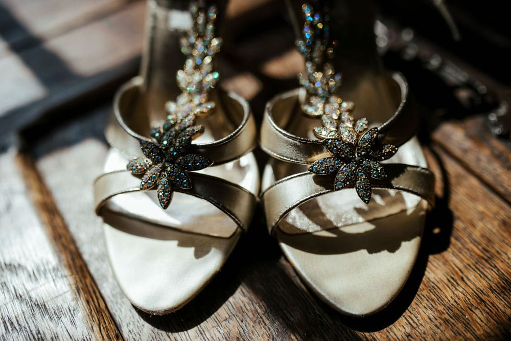 gold bridal wedding shoes