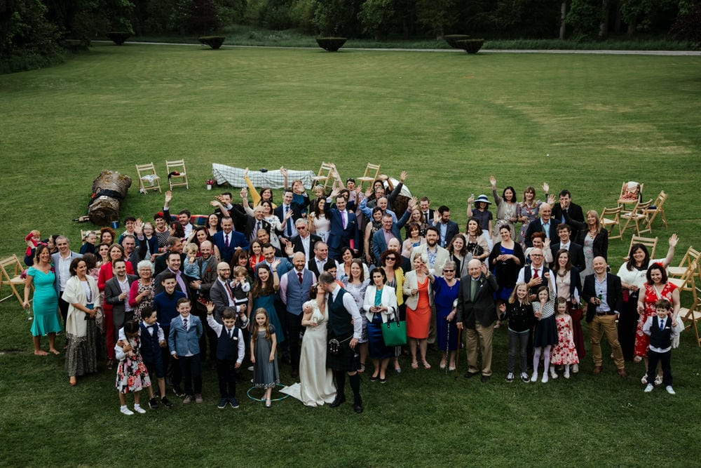 large group photo at martisntown house wedding venue