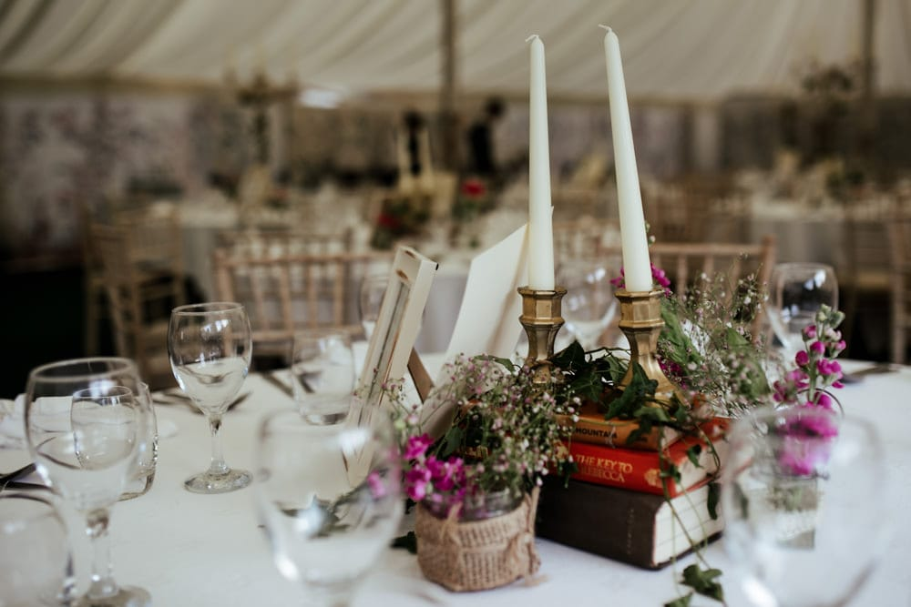 rustic vintage wedding decor at martinstown house wedding venue marquee wedding reception