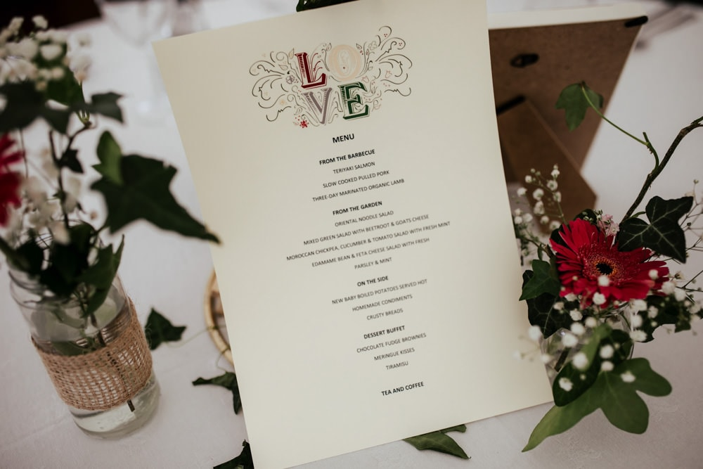 martinstown house wedding menu buffet style