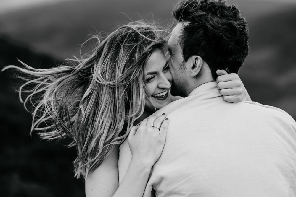couple laughing during their engagement session