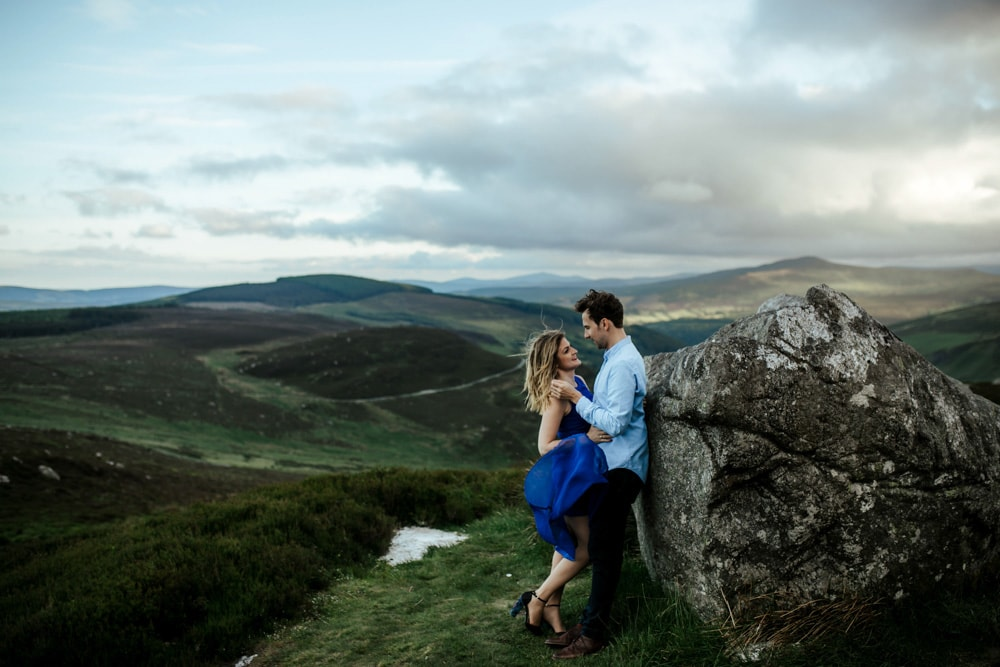 couple in sally gap beautiful view engagement session wicklow