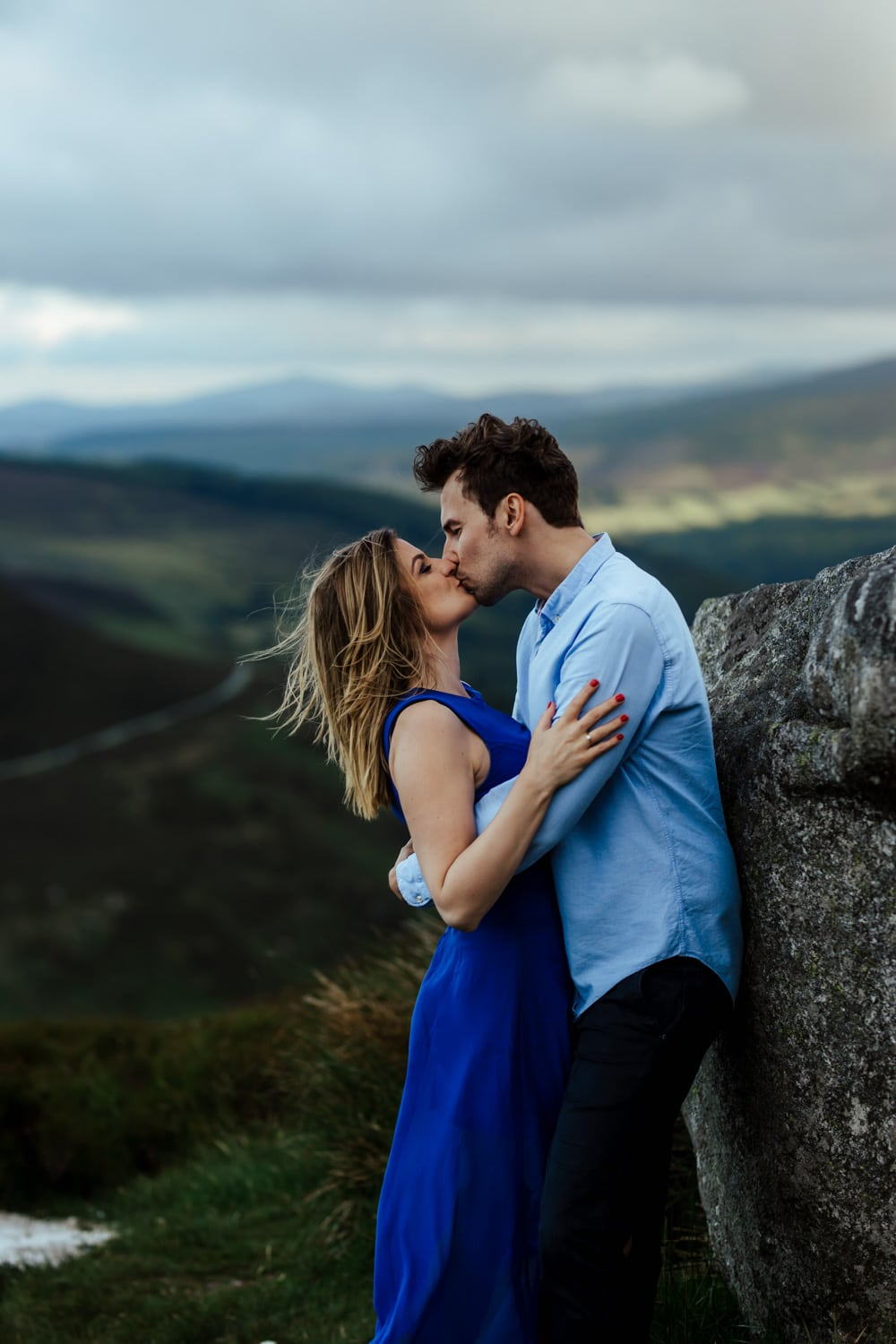 couple kissing in Sally Gap, engagement session wicklow