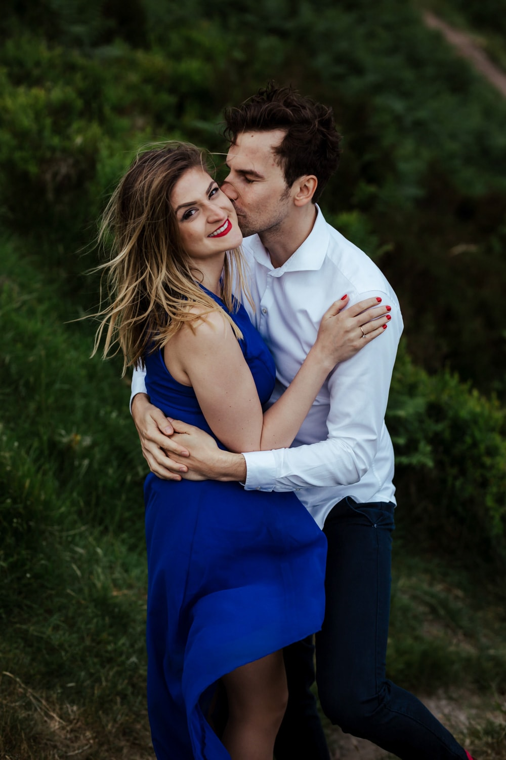 couple kissing during their engagement session wicklow