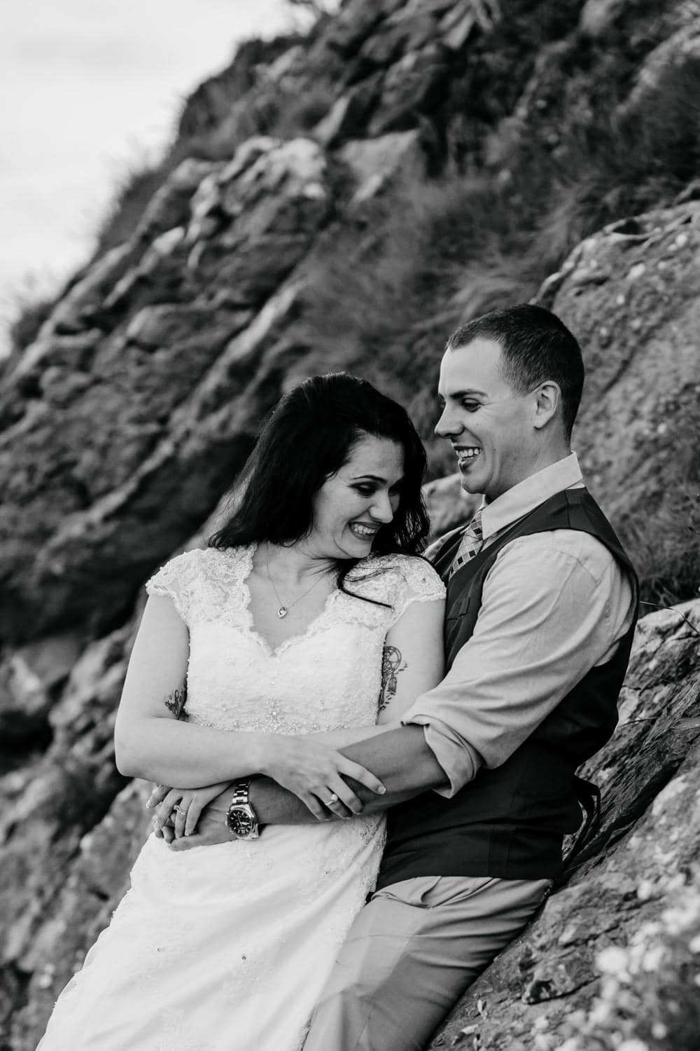 bride and groom laughing vow renewal ireland