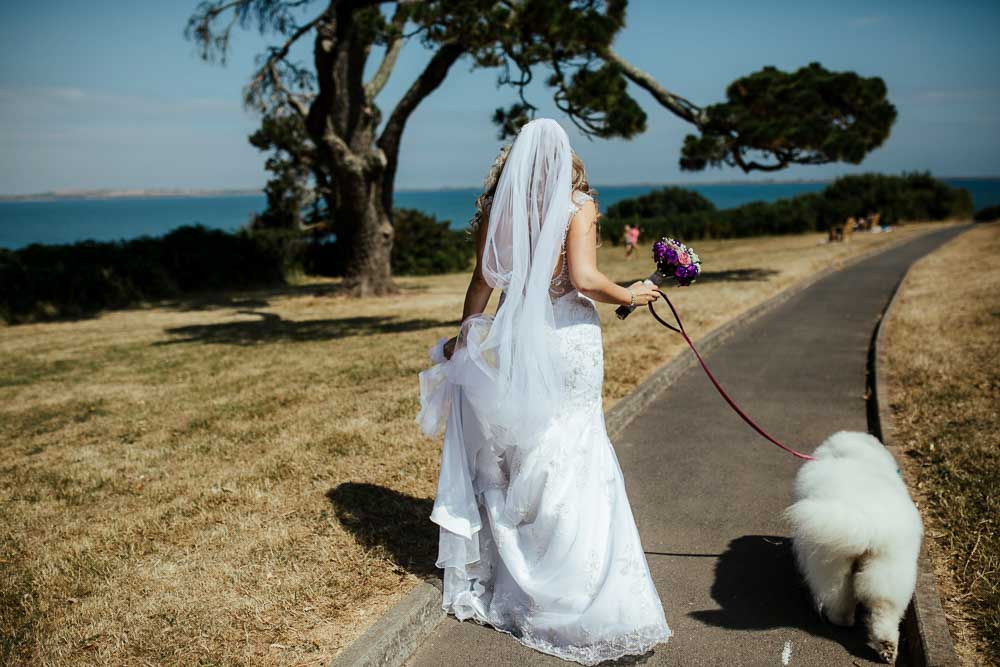 bride and her dog at haven hotel dunmore east