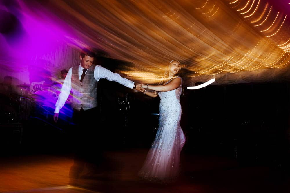 bride and groom first dance funny photo