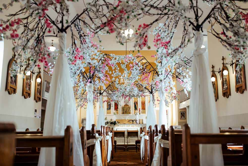 church aisle decorated with cherry blossoms waterford ireland