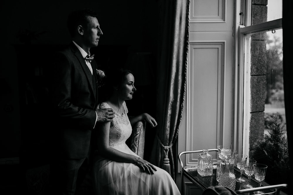 portrait of bride and groom in exclusive country house horetown house wedding venue