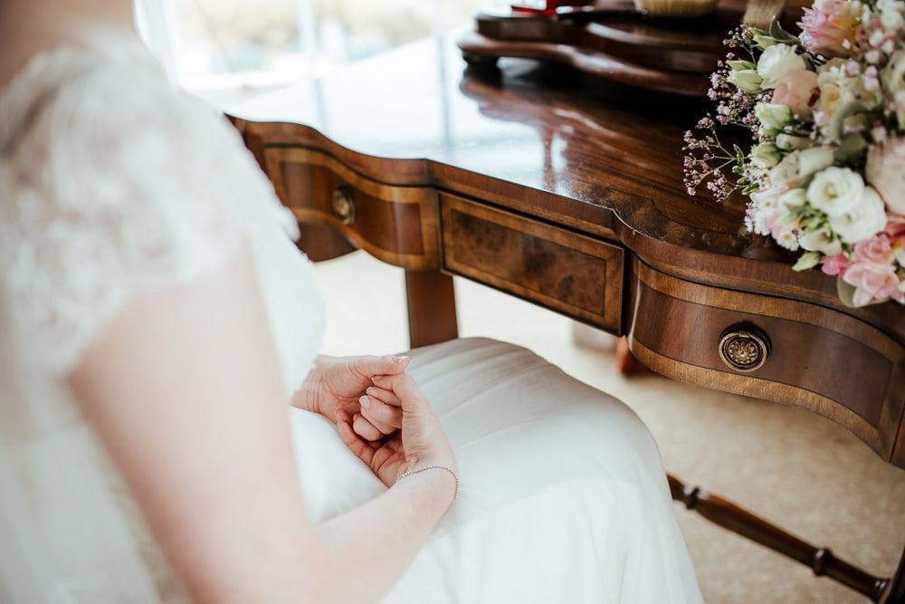 bride nervous before her horetown hosue wedding