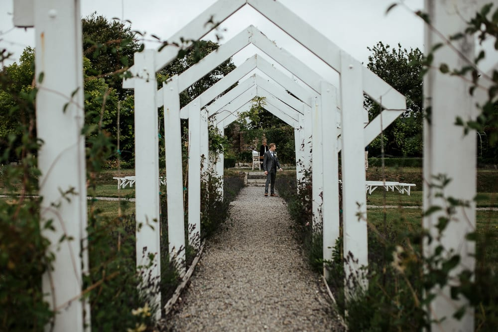 outdoor wedding ceremony aisle at horetown house ireland