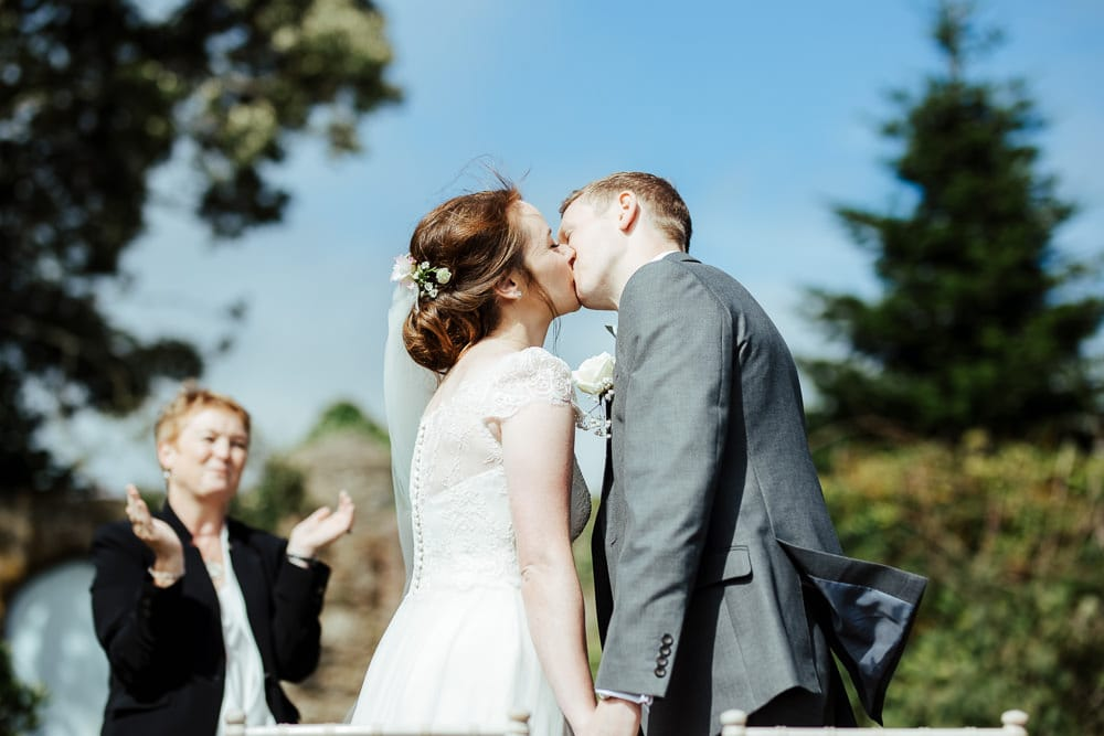 first kiss outdoor wedding ceremony at horetown house