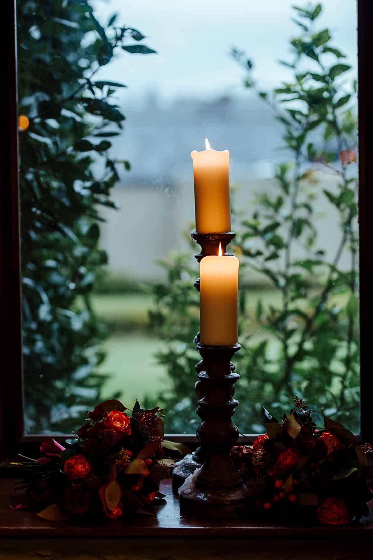 candles at fall castle wedding