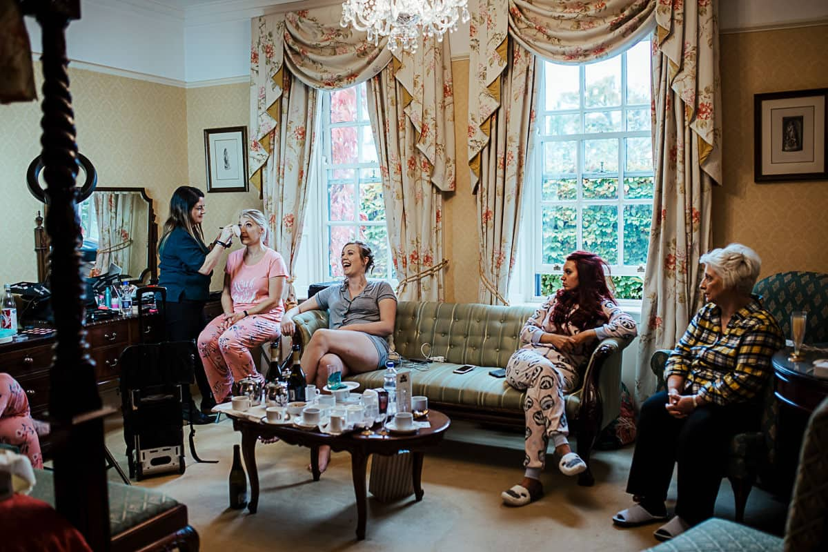 bride and bridesmaids getting ready in barberstown castle