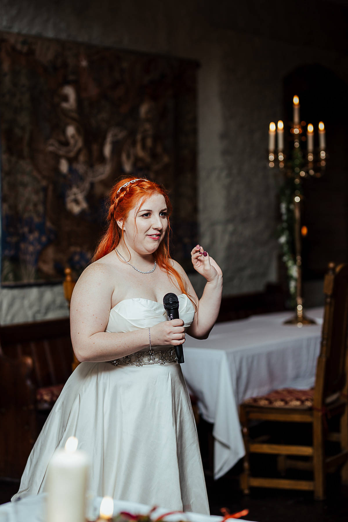 bride giving a wedding speech