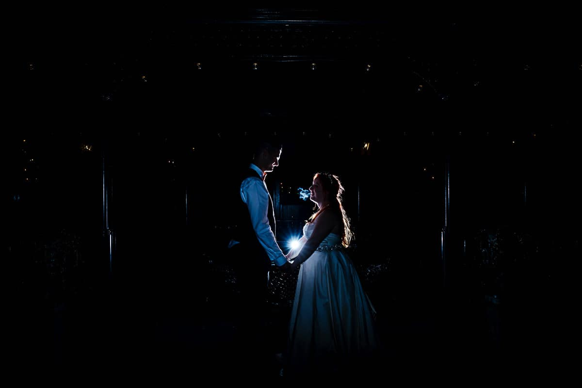 barberstown castle night time photo bride and groom backlit off camera flash