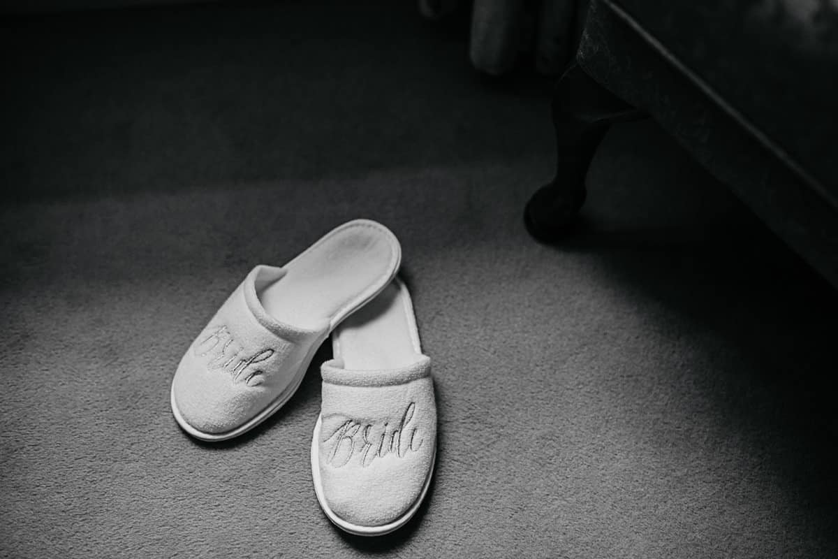 bride slippers wedding morning