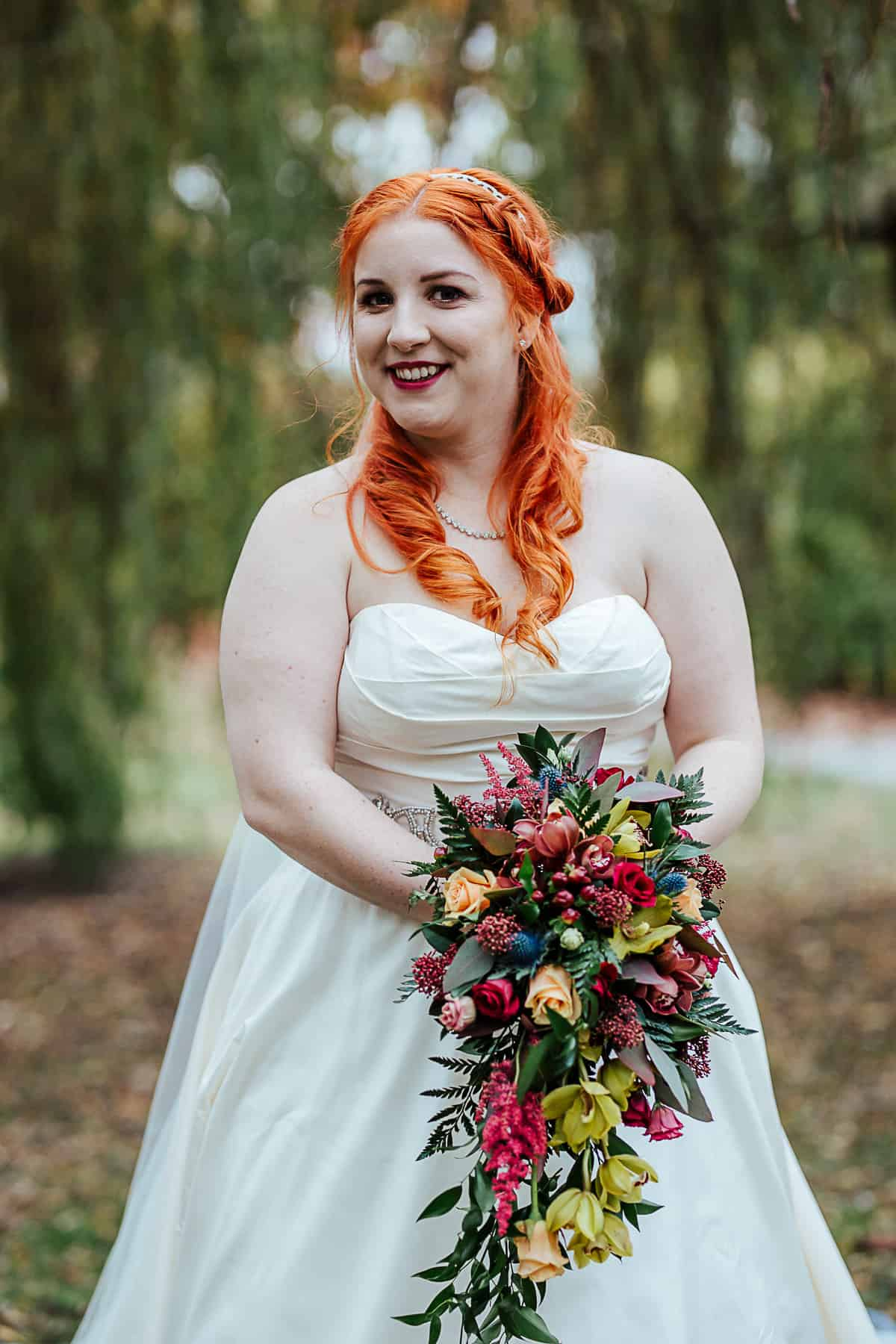 portrait of the bride fall wedding ideas red hair